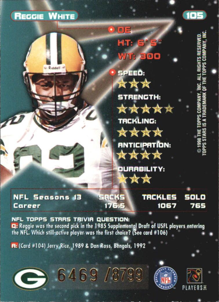 1998 Topps Stars #105 Reggie White back image