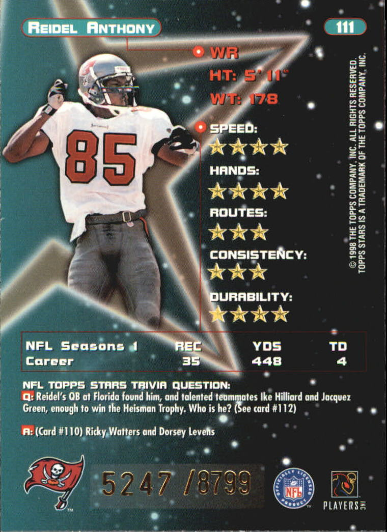 1998 Topps Stars #111 Reidel Anthony back image