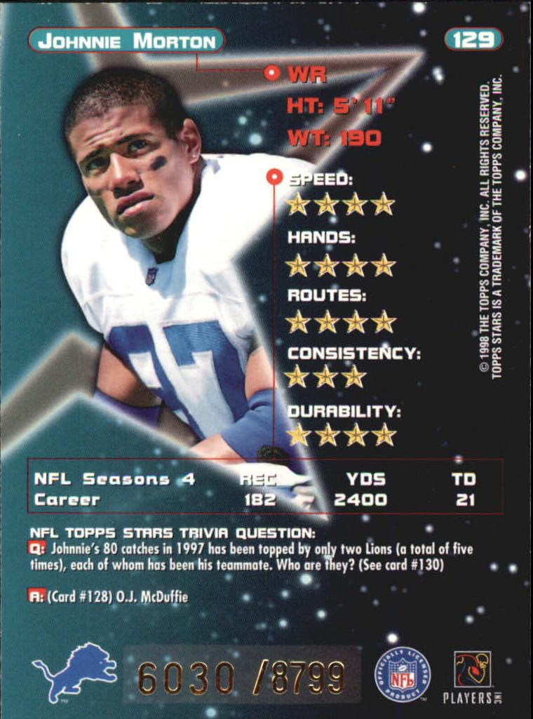 1998 Topps Stars #129 Johnnie Morton back image