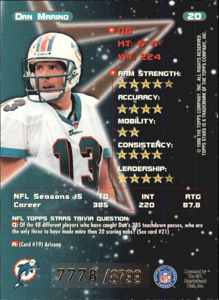 1998 Topps Stars Bronze #20 Dan Marino back image