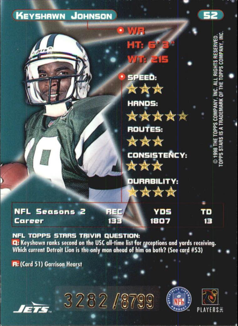 1998 Topps Stars Bronze #52 Keyshawn Johnson back image