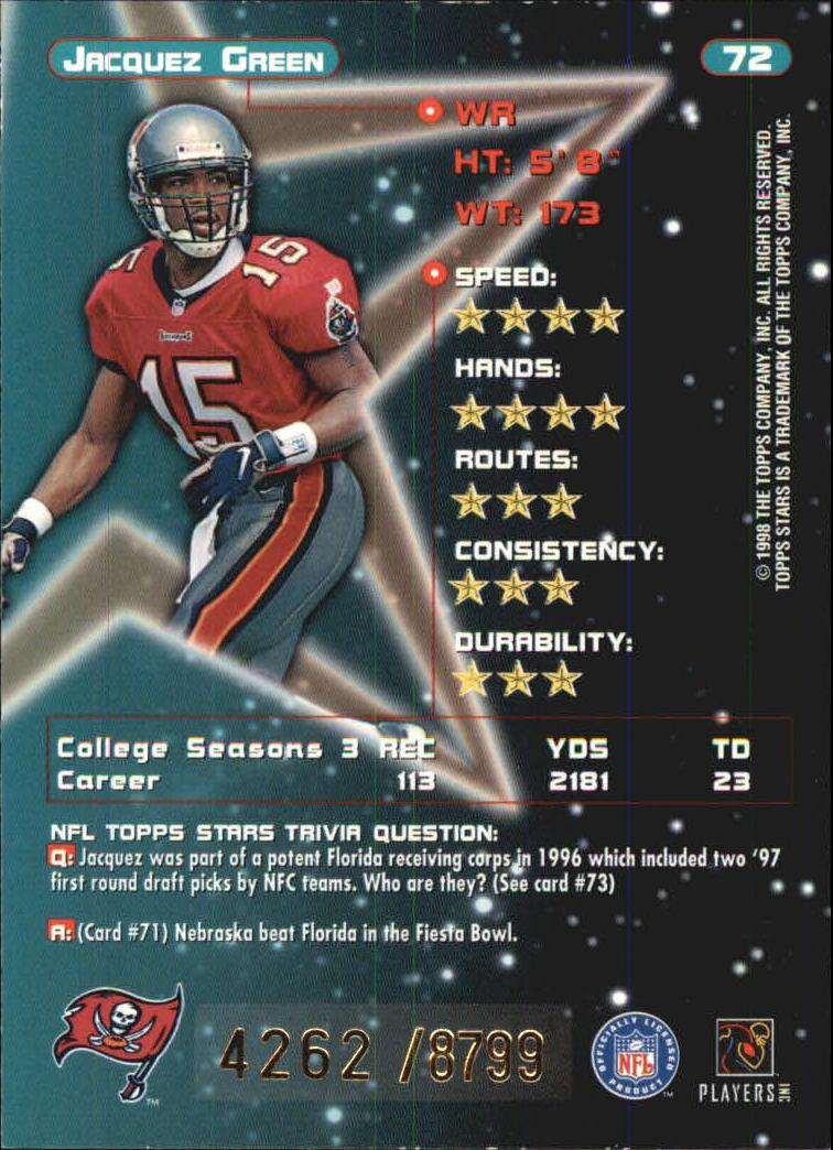 1998 Topps Stars Bronze #72 Jacquez Green back image