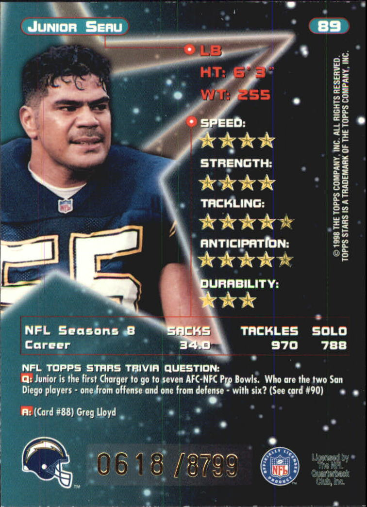 1998 Topps Stars Bronze #89 Junior Seau back image