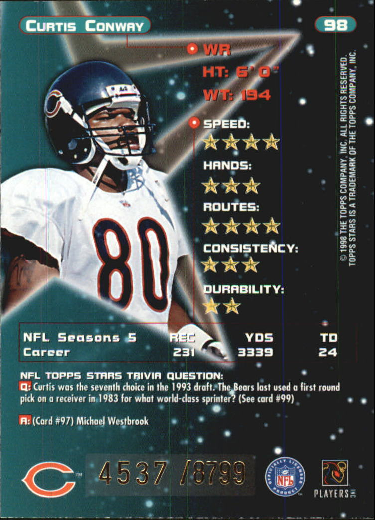 1998 Topps Stars Bronze #98 Curtis Conway back image