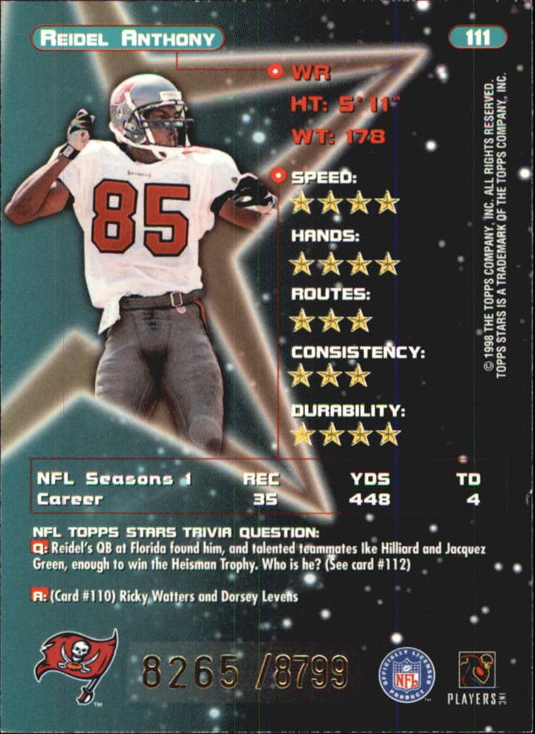 1998 Topps Stars Bronze #111 Reidel Anthony back image