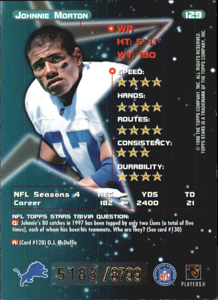 1998 Topps Stars Bronze #129 Johnnie Morton back image