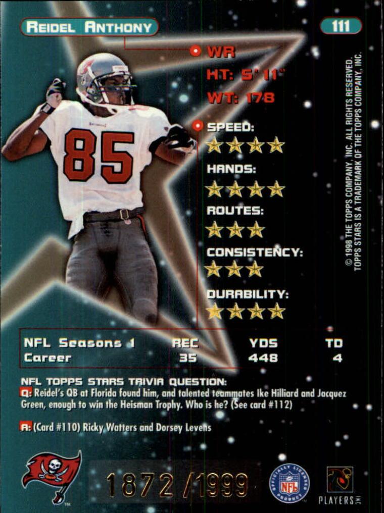 1998 Topps Stars Gold #111 Reidel Anthony back image