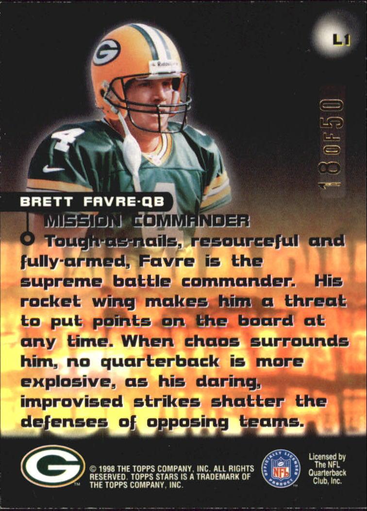 1998 Topps Stars Luminaries #L1 Brett Favre back image