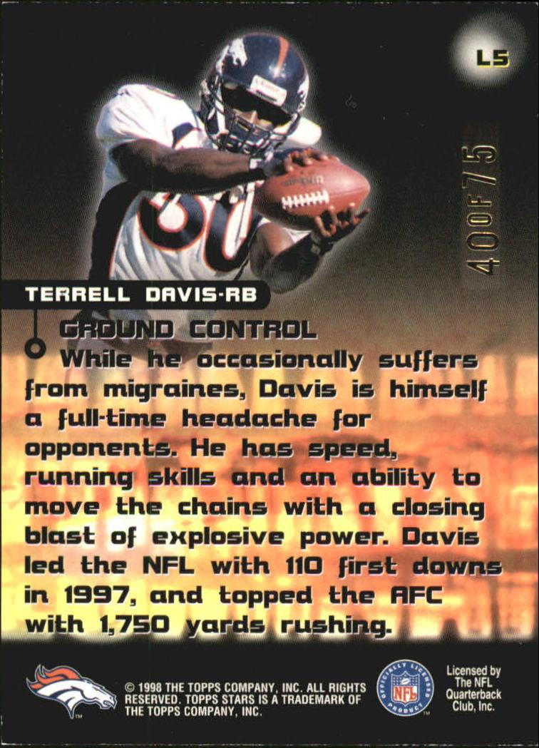1998 Topps Stars Luminaries #L5 Terrell Davis back image