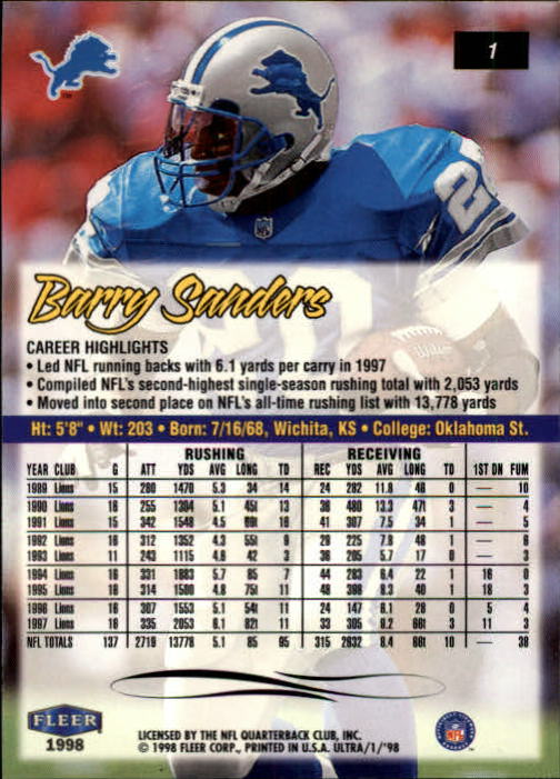 1998 Ultra #1 Barry Sanders back image