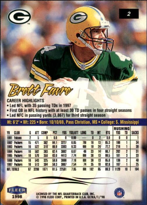 1998 Ultra #2 Brett Favre back image