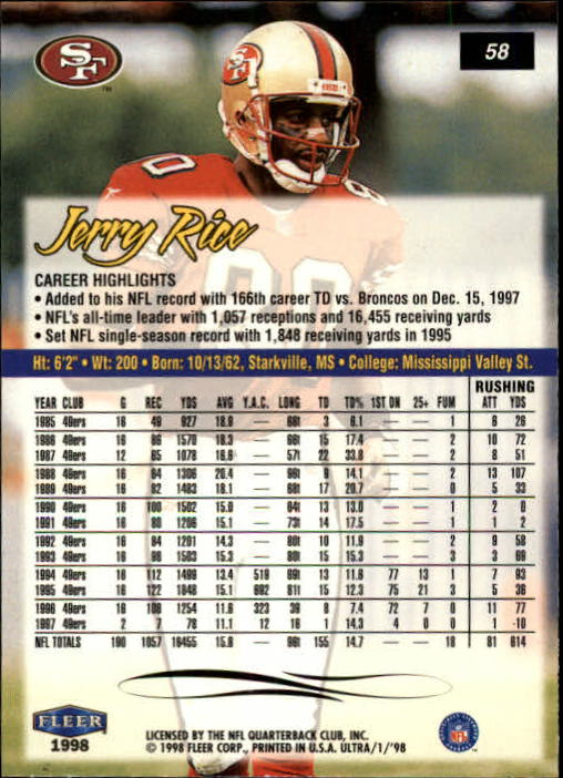 1998 Ultra #58 Jerry Rice back image