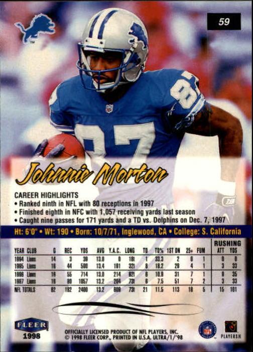 1998 Ultra #59 Johnnie Morton back image