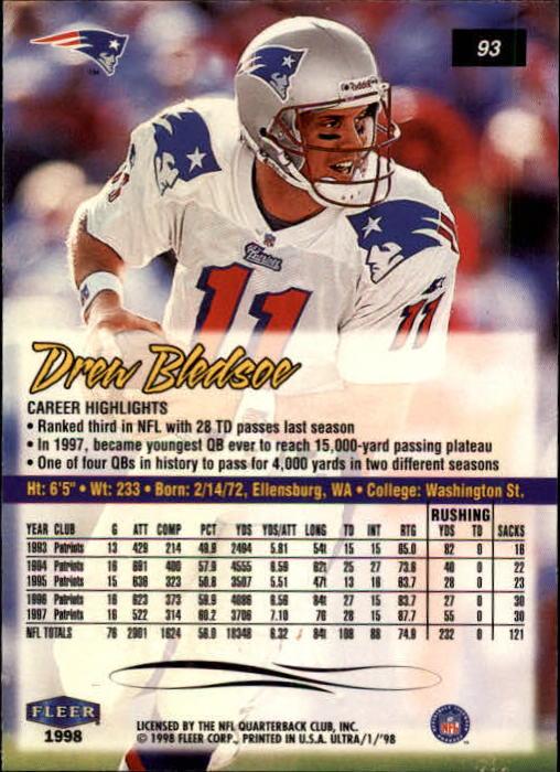 1998 Ultra #93 Drew Bledsoe back image