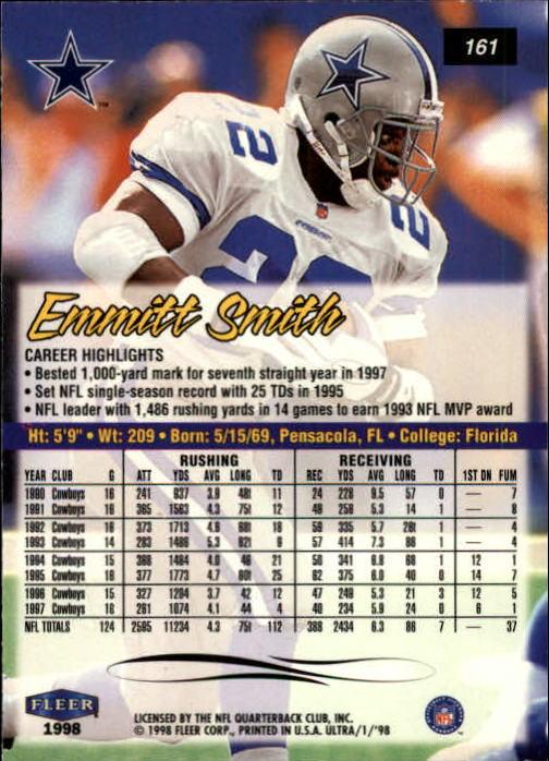 1998 Ultra #161 Emmitt Smith back image