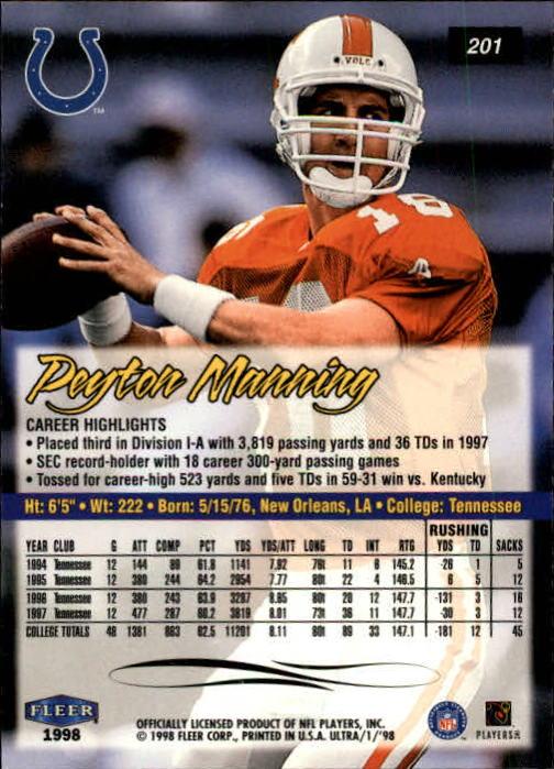 1998 Ultra #201 Peyton Manning RC back image