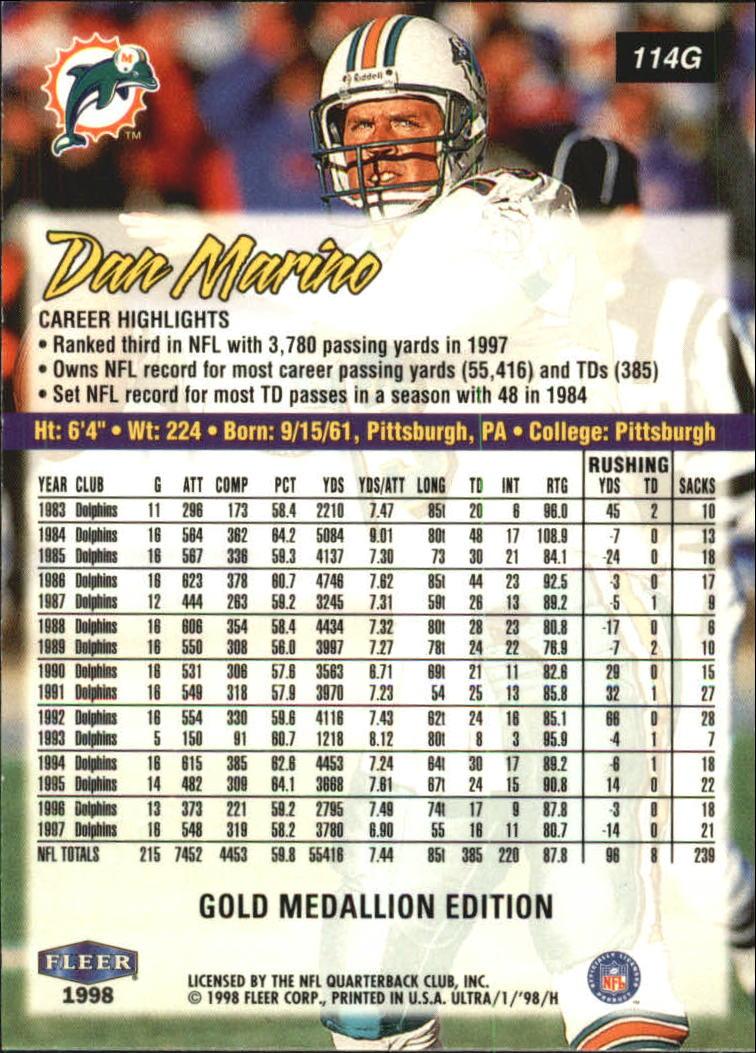 1998 Ultra Gold Medallion #114G Dan Marino back image