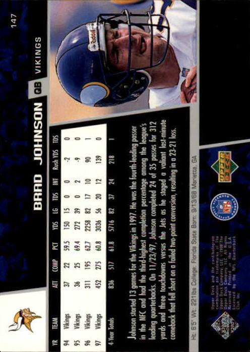 1998 Upper Deck #147 Brad Johnson back image
