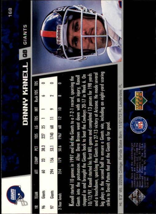 1998 Upper Deck #168 Danny Kanell back image