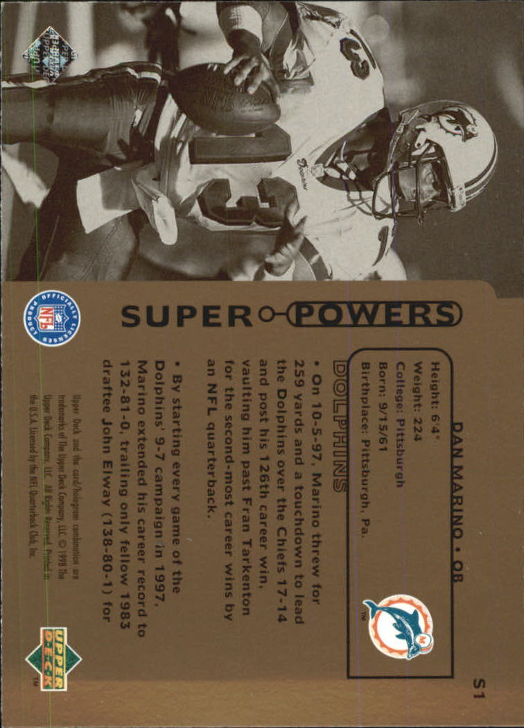 1998 Upper Deck Super Powers #S1 Dan Marino back image