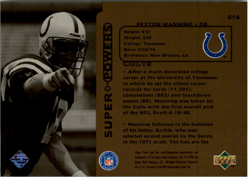 1998 Upper Deck Super Powers #S16 Peyton Manning back image