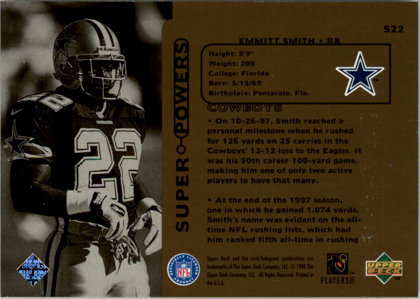 1998 Upper Deck Super Powers #S22 Emmitt Smith back image