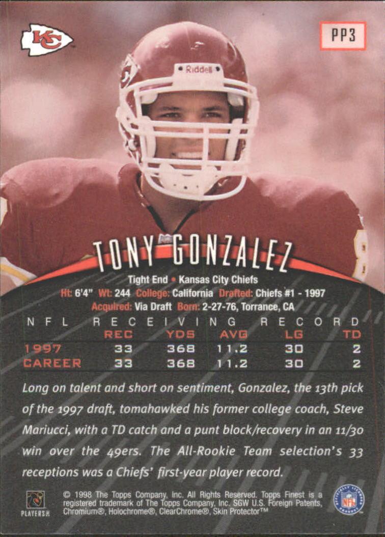 1998 Finest Promos #PP3 Tony Gonzalez back image