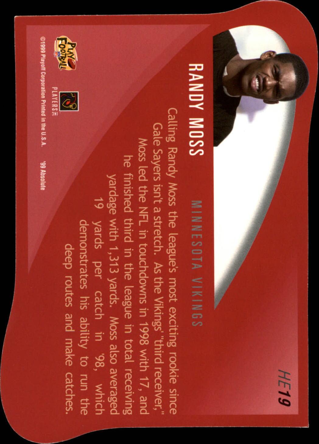 1999 Absolute SSD Heroes Jumbos #HE19 Randy Moss back image