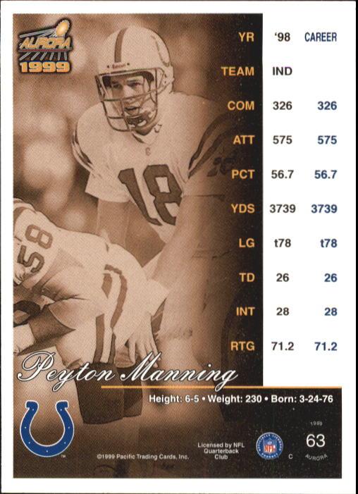 1999 Aurora #63 Peyton Manning back image