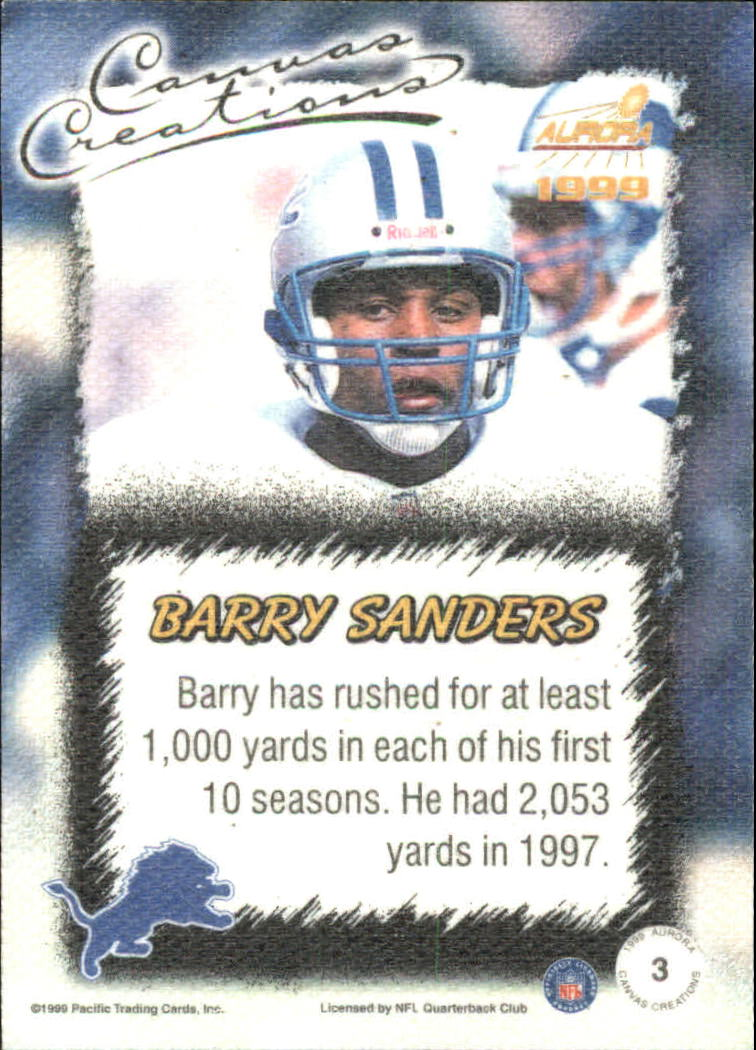 1999 Aurora Canvas Creations #3 Barry Sanders back image