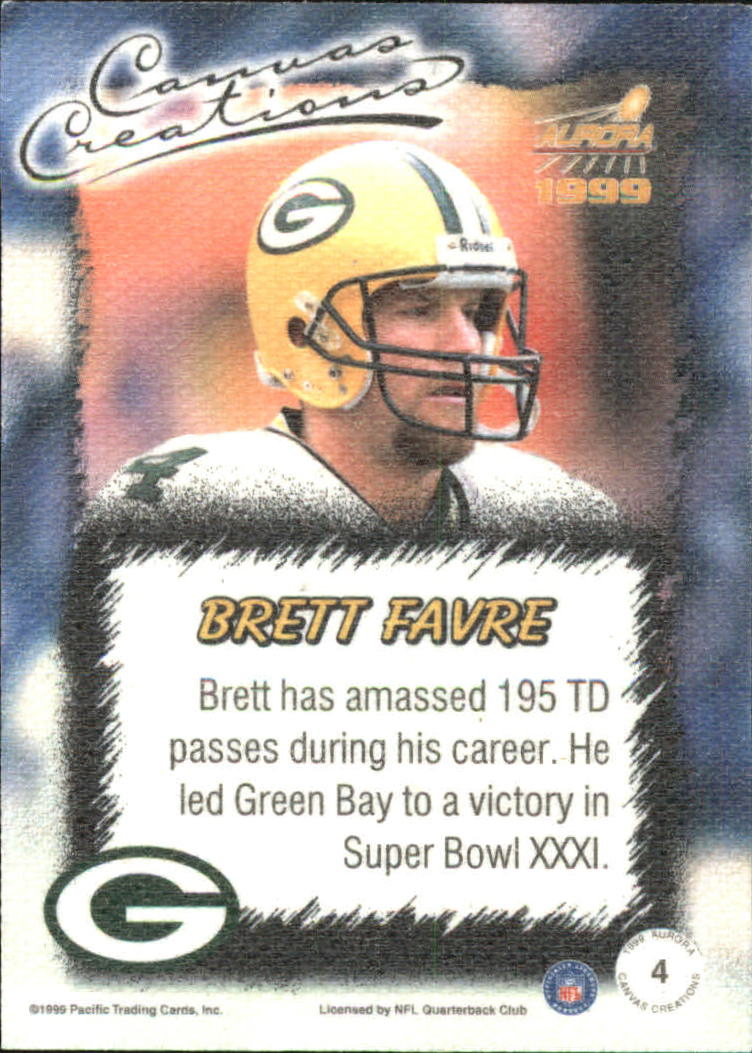 1999 Aurora Canvas Creations #4 Brett Favre back image