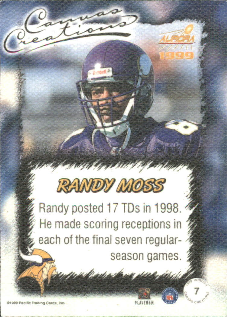 1999 Aurora Canvas Creations #7 Randy Moss back image