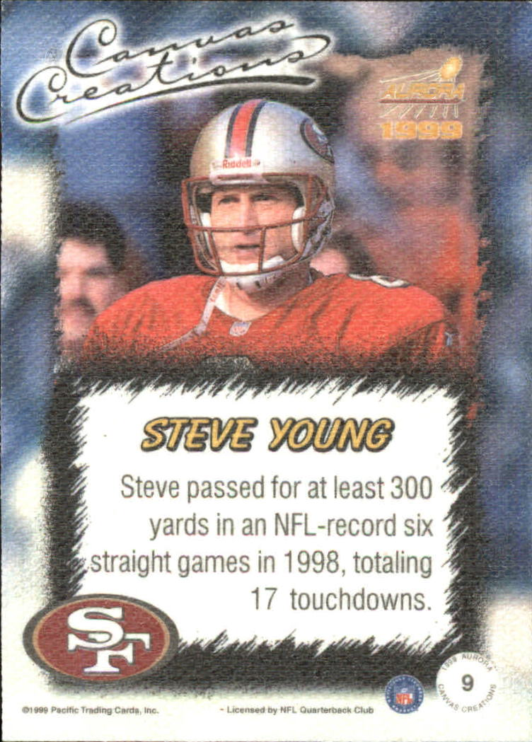 1999 Aurora Canvas Creations #9 Steve Young back image