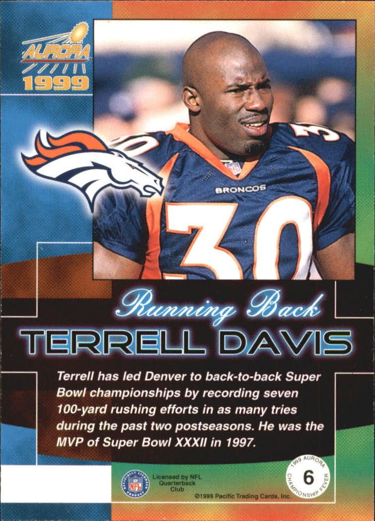 1999 Aurora Championship Fever #6 Terrell Davis back image