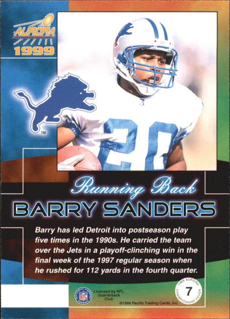 1999 Aurora Championship Fever #7 Barry Sanders back image