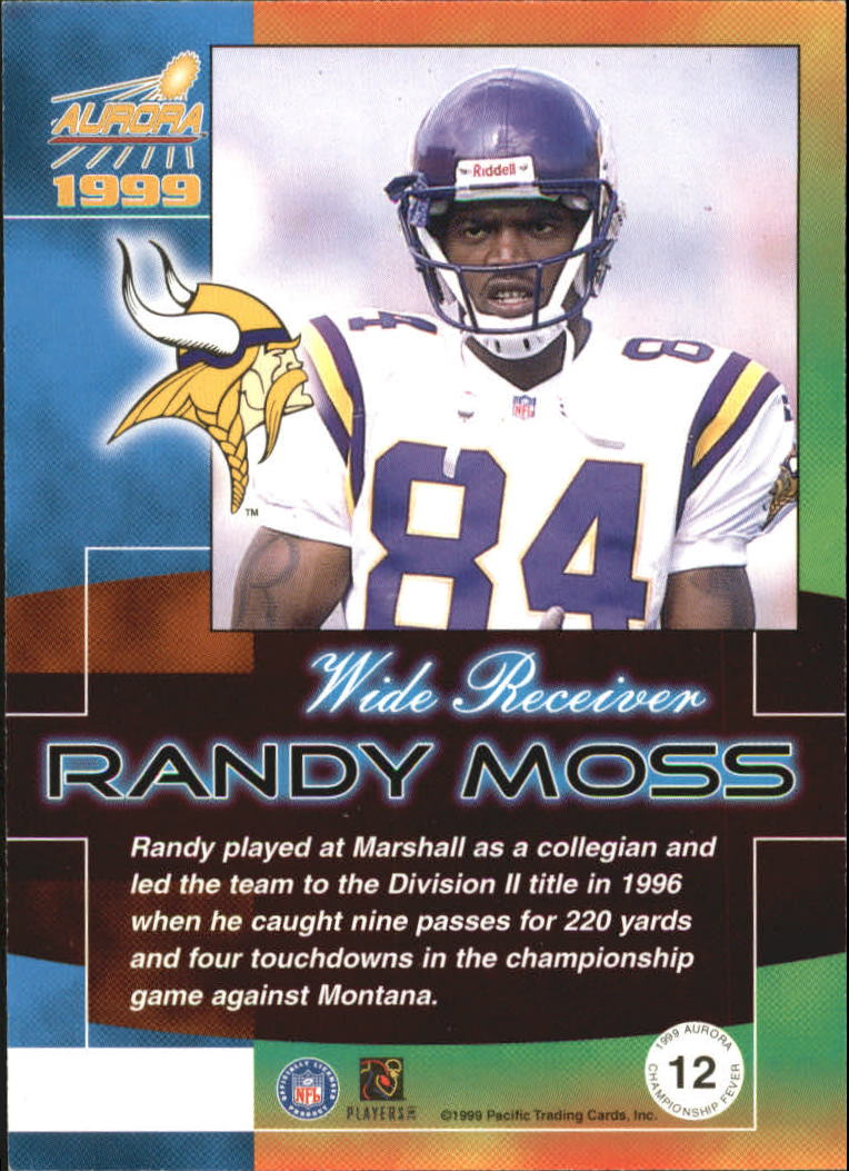 1999 Aurora Championship Fever #12 Randy Moss back image