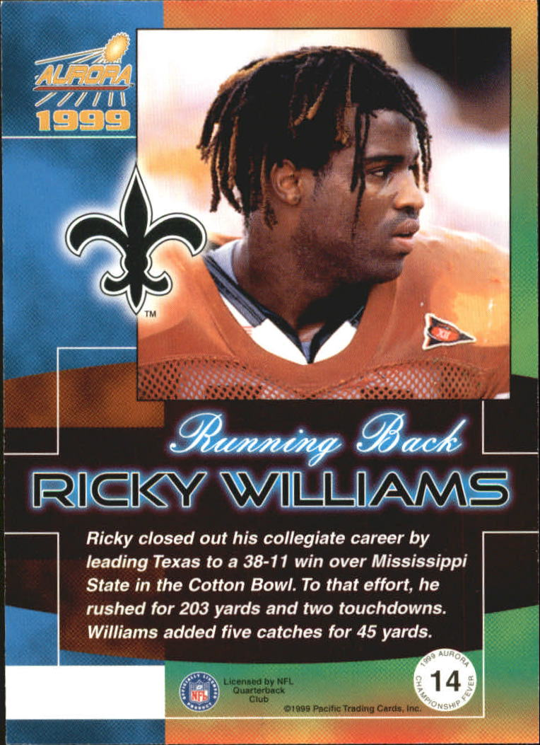 1999 Aurora Championship Fever #14 Ricky Williams back image