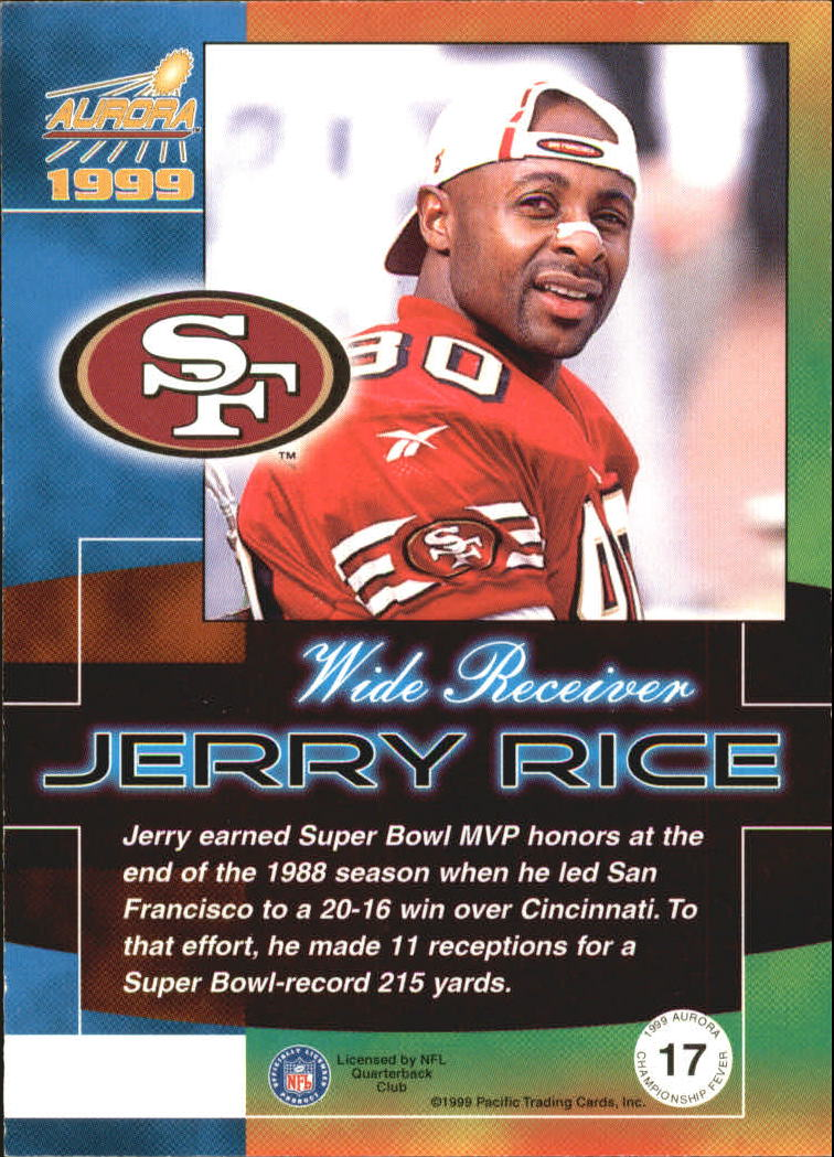 1999 Aurora Championship Fever #17 Jerry Rice back image
