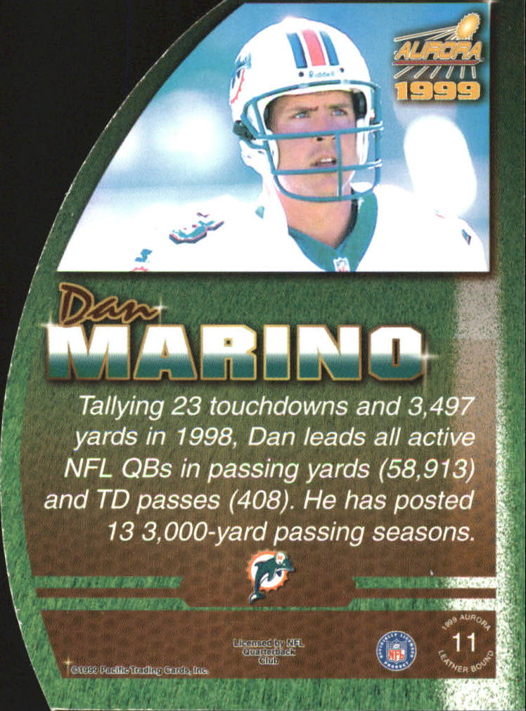 1999 Aurora Leather Bound #11 Dan Marino back image