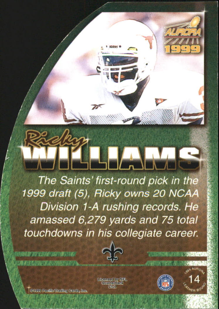 1999 Aurora Leather Bound #14 Ricky Williams back image
