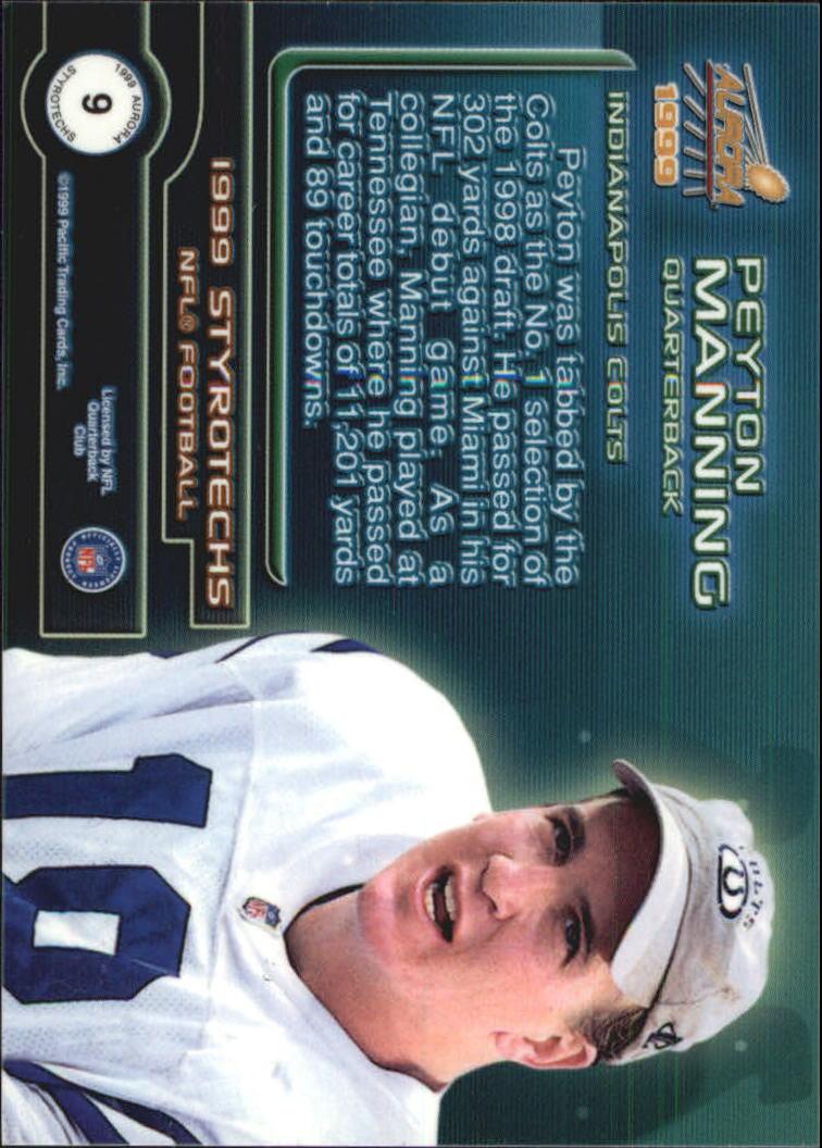 1999 Aurora Styrotechs #9 Peyton Manning back image