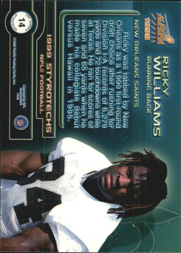 1999 Aurora Styrotechs #14 Ricky Williams back image