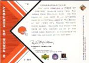 1999 Black Diamond A Piece of History #TC Tim Couch H back image