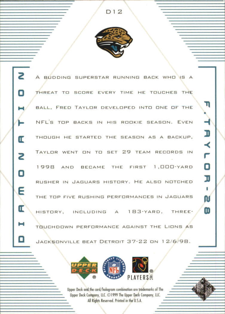 1999 Black Diamond Diamonation #D12 Fred Taylor back image