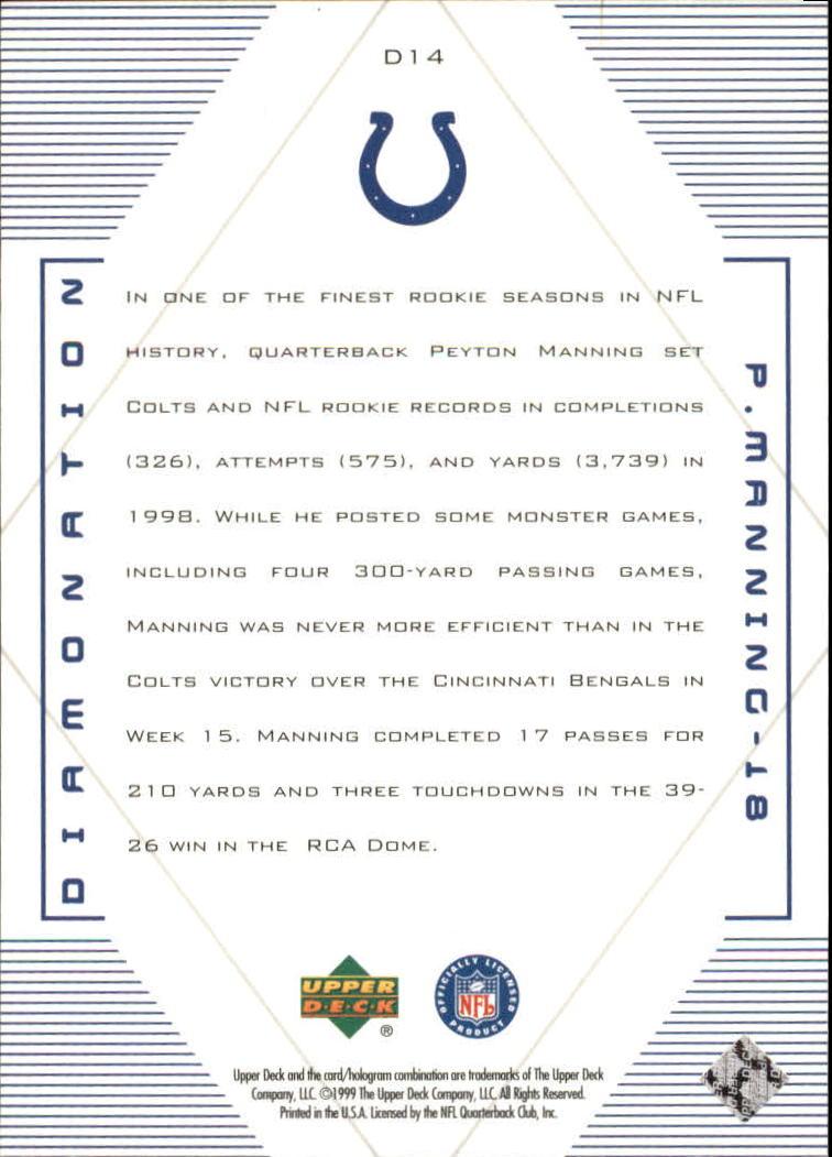 1999 Black Diamond Diamonation #D14 Peyton Manning back image