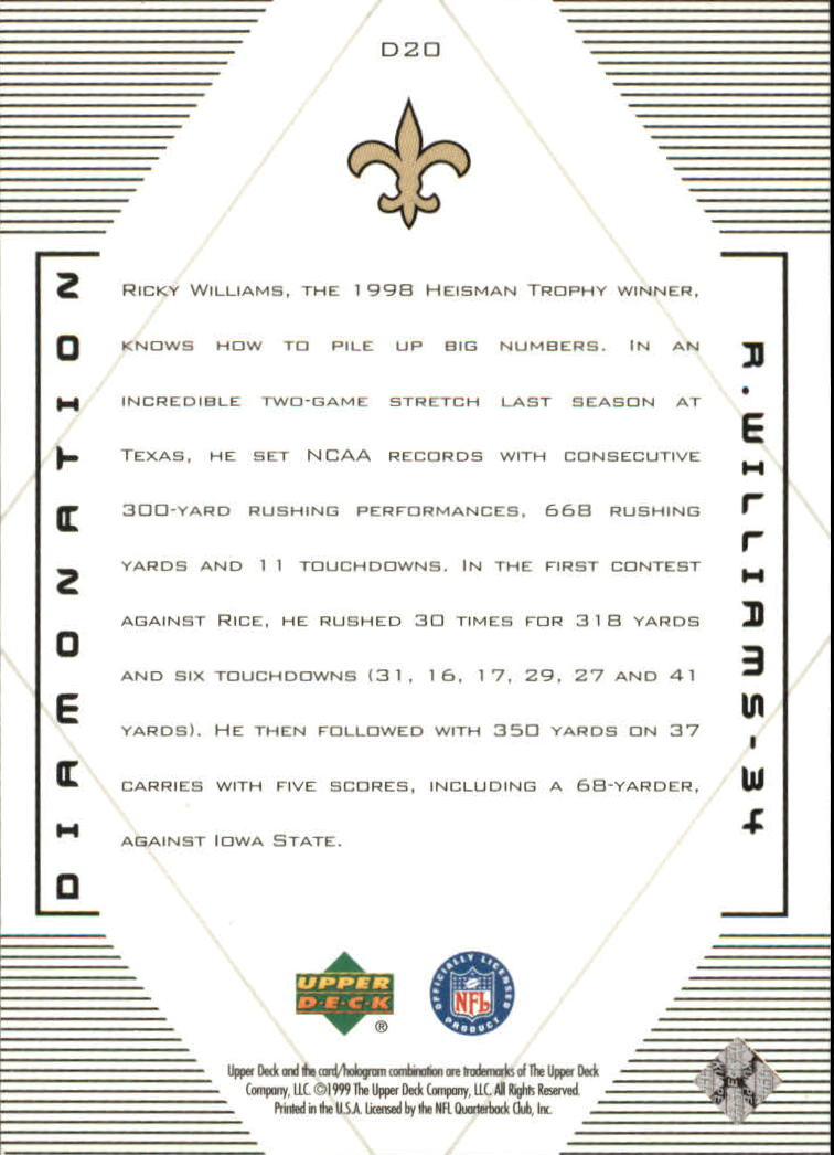 1999 Black Diamond Diamonation #D20 Ricky Williams back image