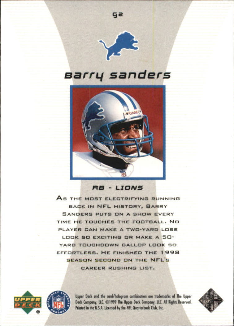 1999 Black Diamond Gallery #G2 Barry Sanders back image