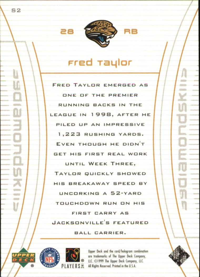1999 Black Diamond Skills #S2 Fred Taylor back image