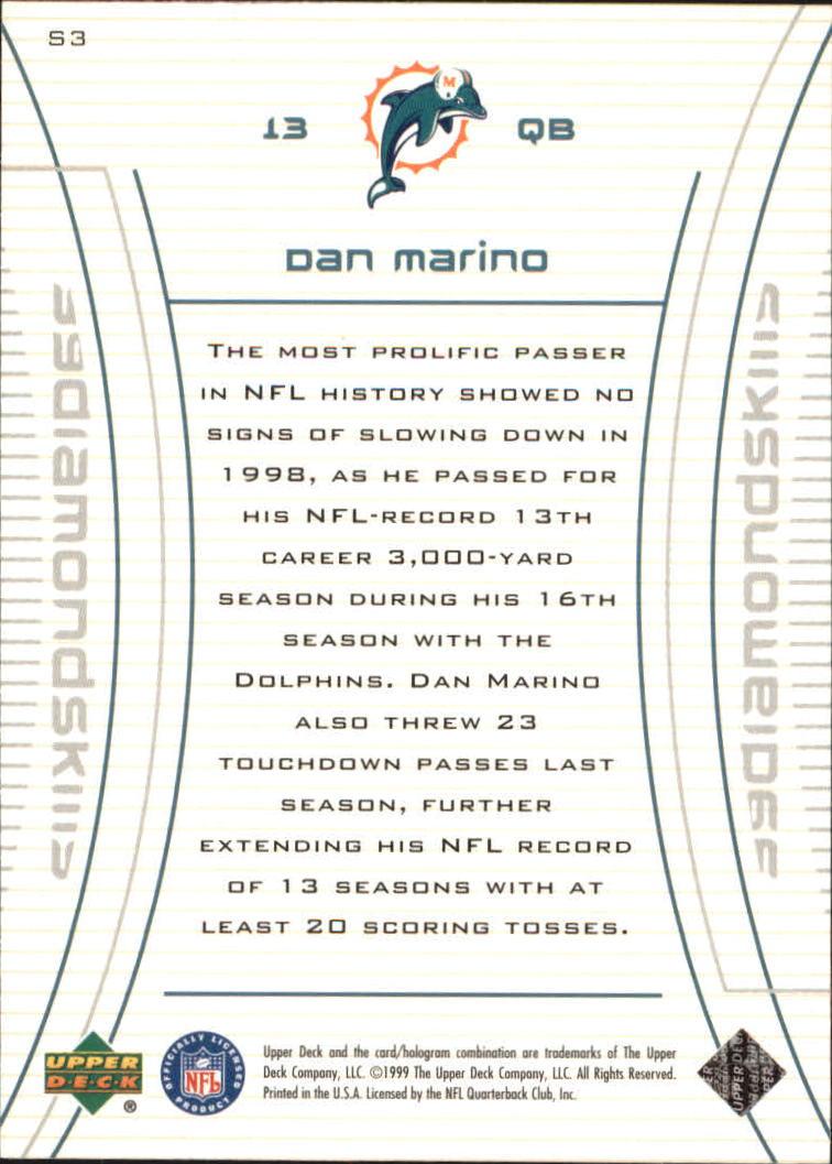 1999 Black Diamond Skills #S3 Dan Marino back image