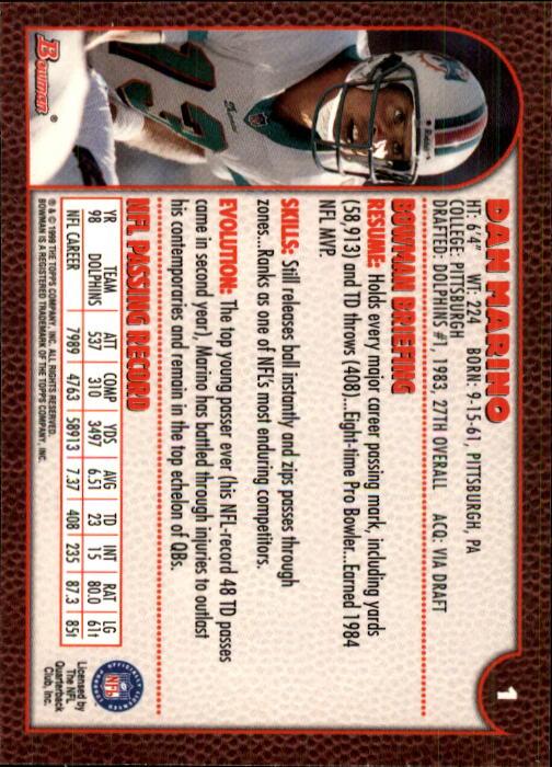 1999 Bowman #1 Dan Marino back image